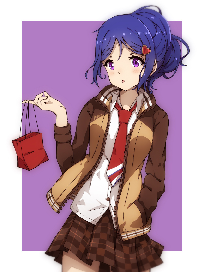 1girl bag birthday blue_hair hair_ornament hand_in_pocket happy_birthday heart_hair_ornament highres jacket long_hair long_sleeves love_live! love_live!_school_idol_festival love_live!_sunshine!! matsuura_kanan miniskirt necktie paper_bag ponytail red_neckwear senguyen1011 skirt solo violet_eyes