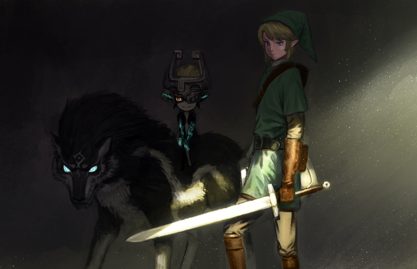1boy 1girl animal blonde_hair boots brown_gloves dual_persona facial_mark forehead_mark gloves glowing glowing_eyes glowing_tattoo hat highres light_particles link link_(wolf) looking_at_viewer mask midna monster_girl pointy_ears riding serious shade shield smile sword tattoo the_legend_of_zelda the_legend_of_zelda:_twilight_princess wasabi60 weapon wolf