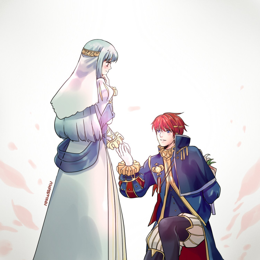 1boy 1girl alternate_costume artist_request blue_hair blush cape closed_eyes dress eliwood_(fire_emblem) fire_emblem fire_emblem:_rekka_no_ken fire_emblem_heroes flower gloves hair_ornament highres long_hair mamkute ninian open_mouth red_eyes redhead short_hair smile