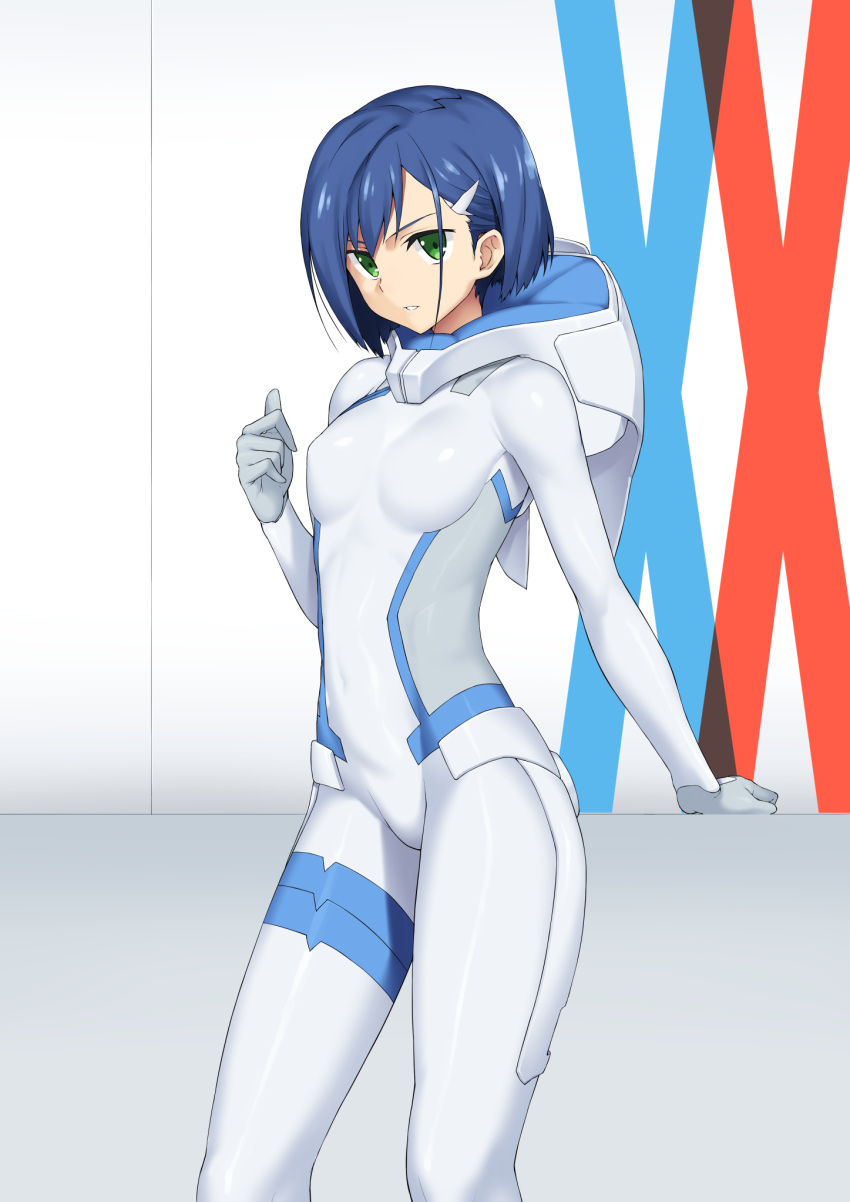 1girl bangs blue_hair bnc_(bunshi) bodysuit breasts cowboy_shot darling_in_the_franxx green_eyes hair_ornament hairclip highres ichigo_(darling_in_the_franxx) looking_at_viewer medium_breasts parted_lips shiny shiny_clothes shiny_hair short_hair skin_tight solo standing white_bodysuit