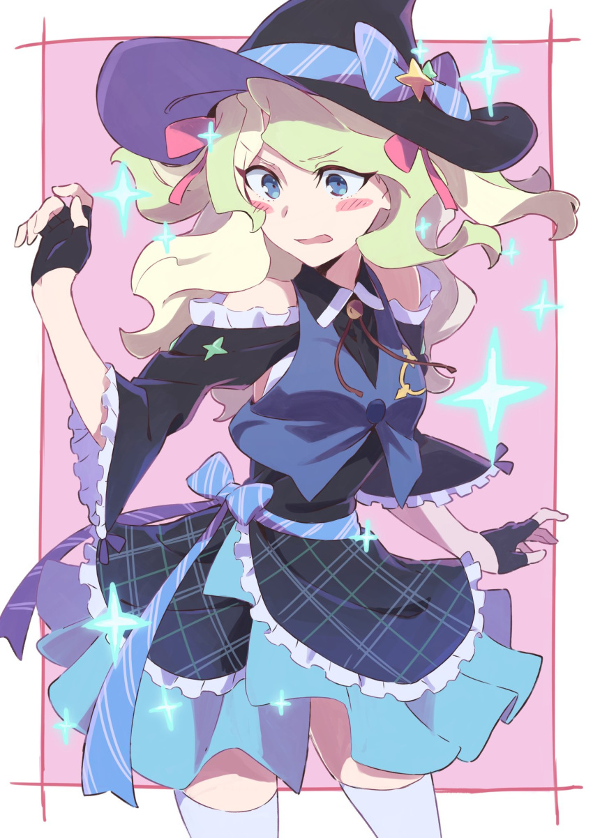 1girl blonde_hair blue_eyes diana_cavendish dress hat highres idol jewelry little_witch_academia long_hair multicolored_hair skirt solo sparkle star tama two-tone_hair witch