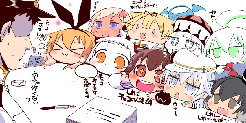 >_< +_+ 1boy 6+girls :3 :d admiral_(kantai_collection) ahoge arm_up ashtray black_hair blonde_hair blue_eyes blush_stickers bow brown_eyes brown_hair chibi closed_eyes commentary_request covered_mouth drooling enemy enemy_aircraft_(kantai_collection) epaulettes faceless faceless_male fang flailing flat_cap flower fountain_pen gloves green_eyes hair_between_eyes hair_bow hair_flaps hair_flower hair_ornament hairband hairclip hammer_and_sickle hand_on_own_cheek hand_up hat hibiki_(kantai_collection) kantai_collection long_hair long_sleeves military military_uniform mini_hat mittens multiple_girls northern_ocean_hime northern_water_hime open_mouth orange_eyes paper_stack peaked_cap pen remodel_(kantai_collection) ro-500_(kantai_collection) sako_(bosscoffee) scarf shimakaze_(kantai_collection) shinkaisei-kan smile star star-shaped_pupils submarine_new_hime sweatdrop symbol-shaped_pupils tan tokitsukaze_(kantai_collection) top_hat translation_request triangle_mouth uniform verniy_(kantai_collection) white_hair x3 xd yukikaze_(kantai_collection) yuudachi_(kantai_collection)