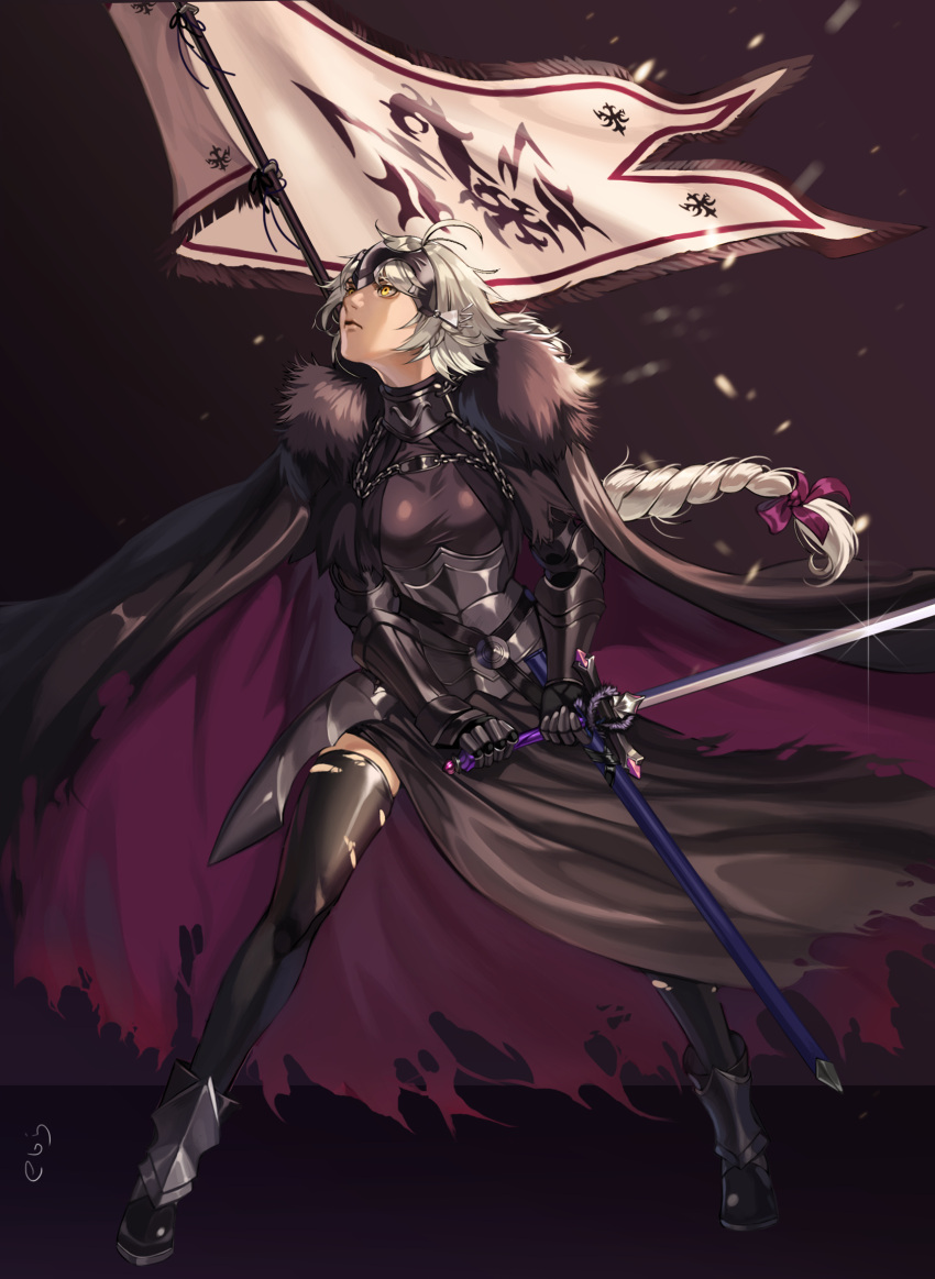 1girl ahoge armor banner black_cape black_dress black_legwear braid breasts cape chains dress ebiss06081 fate/grand_order fate_(series) faulds full_body fur_collar fur_trim gauntlets greaves hair_ornament headpiece highres holding holding_weapon janne_d'arc jeanne_alter jeanne_d'arc_(fate) jeanne_d'arc_(fate)_(all) jeanne_d'arc_(grimms_notes) legs_apart long_hair looking_away looking_to_the_side ruler_(fate/apocrypha) sheath standing sword thigh-highs torn_clothes torn_thighhighs weapon white_hair yellow_eyes