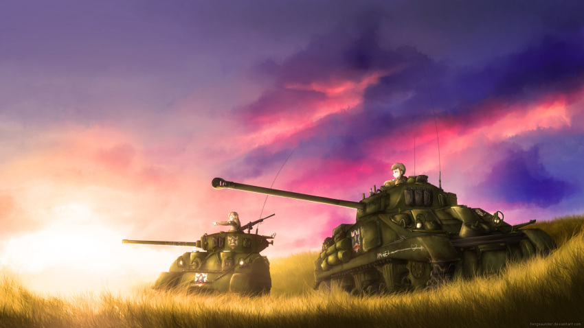 2girls arm_support bangs blonde_hair brown_hair brown_jacket clouds cloudy_sky commentary emblem english fongsaunder from_side girls_und_panzer grass ground_vehicle gun heart highres jacket kay_(girls_und_panzer) long_hair long_sleeves m4_sherman machine_gun military military_uniform military_vehicle motor_vehicle multiple_girls naomi_(girls_und_panzer) outdoors pointing saunders_(emblem) saunders_military_uniform sherman_firefly short_hair sky star sunset tank twilight uniform very_short_hair weapon weapon_request