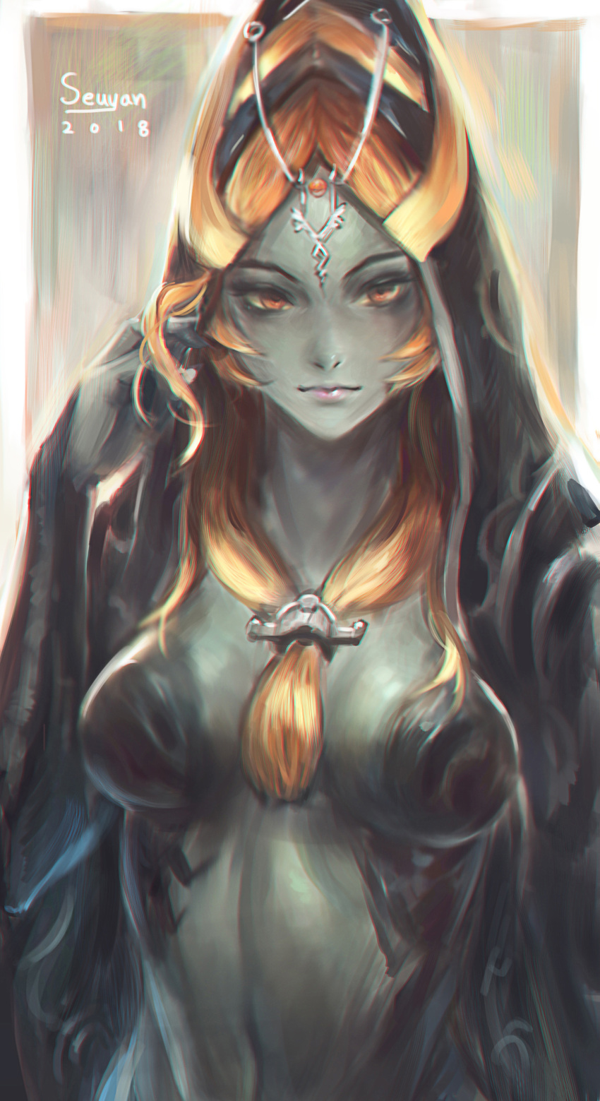 1girl absurdres blue_skin breasts highres hood long_hair looking_at_viewer midna midna_(true) orange_hair pointy_ears red_eyes seuyan simple_background smile solo spoilers the_legend_of_zelda the_legend_of_zelda:_twilight_princess