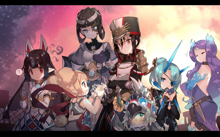animal_ears armor azami_(xenoblade) black_hair blonde_hair blue_eyes blue_hair blush breasts chocolate closed_eyes collarbone crop_top doll dress eyepatch feather_hair feathers fire fur_collar gem gloves goggles goggles_on_head hair_bun hat highres ibuki_(xenoblade) japanese_clothes kagutsuchi_(xenoblade) kasane_(xenoblade) long_hair mask meleph_(xenoblade) military military_hat military_uniform monster_girl multiple_girls open_mouth pauldrons ponytail purple_hair raiko_(xenoblade) red_eyes reverse_trap saru seori_(xenoblade) short_hair simple_background smile uniform xenoblade xenoblade_2 yuri
