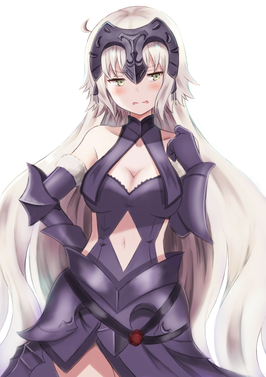 1girl absurdres ahoge blush breasts cleavage commentary_request fate/grand_order fate_(series) gauntlets grey_eyes hairpiece highres jeanne_d'arc_(alter)_(fate) jeanne_d'arc_(fate)_(all) long_hair looking_away navel parted_lips shibakame silver_hair solo wavy_mouth white_background
