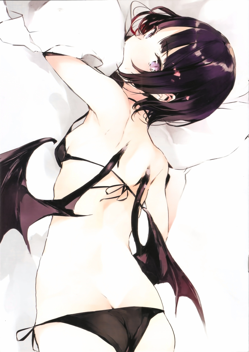 1girl absurdres ass bikini black_bikini breasts butt_crack cowboy_shot demon_wings dimples_of_venus eyebrows_visible_through_hair halterneck highres lying on_stomach original purple_hair short_hair shunsei_(muratou) side-tie_bikini small_breasts solo swimsuit violet_eyes wings