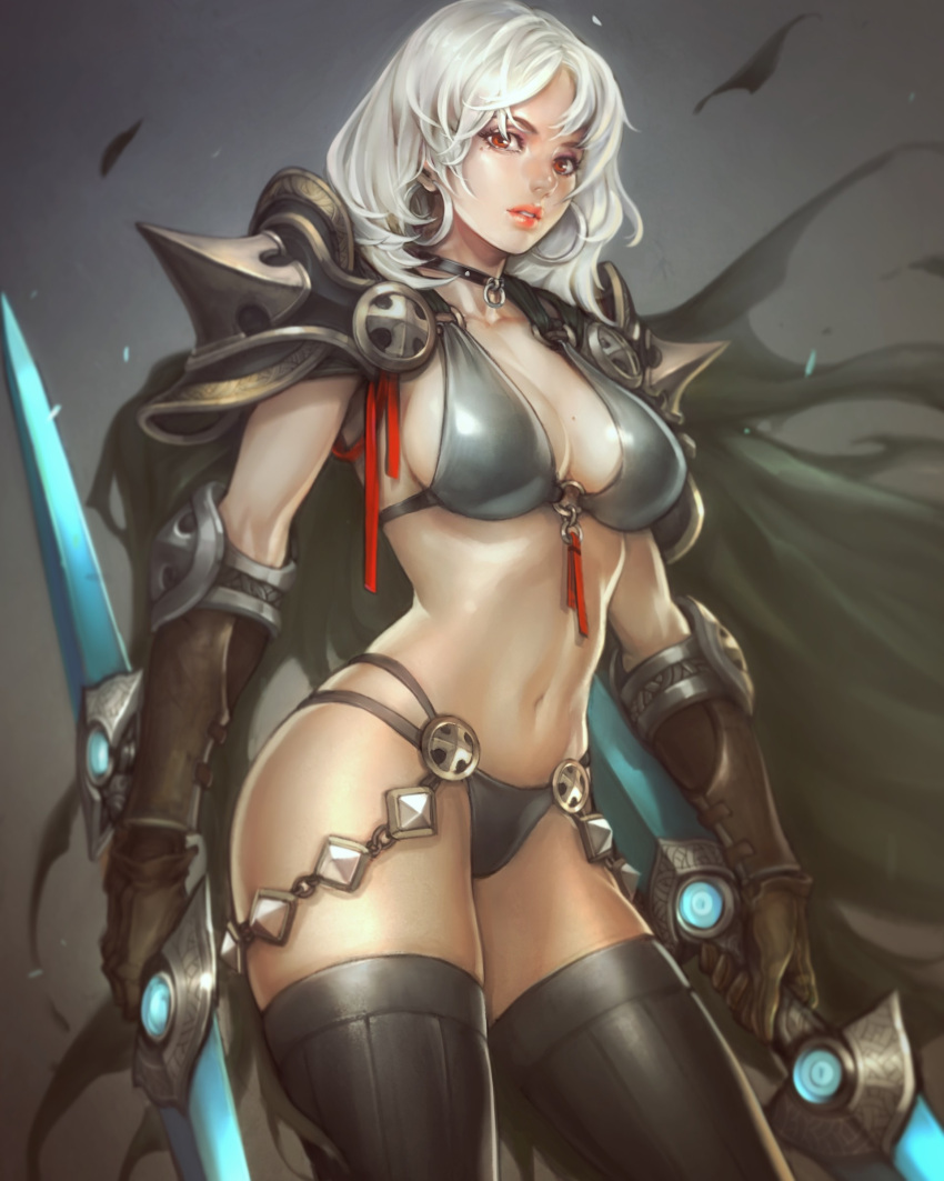 1girl absurdres armor bikini_armor black_legwear breasts brown_gloves cape choker cleavage double_blade dual_wielding earrings elbow_pads fantasy gloves highres hoop_earrings jewelry lips looking_at_viewer md5_mismatch medium_breasts medium_hair midriff mole mole_on_breast navel night orange_eyes original ozo_stato pauldrons sideboob silver_hair solo spikes thigh-highs vambraces