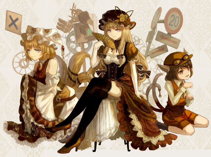 3girls animal_ears bare_shoulders belt black_legwear blonde_hair brown_eyes brown_hair brown_hat brown_shorts brown_vest cat_ears cat_tail chen detached_sleeves fan fox_tail frilled_hat frills gears goggles goggles_on_headwear grey_eyes hair_ribbon hat high_heels keiko_(mitakarawa) lamppost legs_crossed long_hair looking_at_viewer mob_cap multi-tied_hair multiple_girls multiple_tails pillow_hat puffy_short_sleeves puffy_sleeves ribbon road_sign seiza short_hair short_sleeves shorts sidelocks sign sitting smile steampunk tabard tail thigh-highs touhou tress_ribbon two_tails underbust vest violet_eyes white_hat wide_sleeves yakumo_ran yakumo_yukari