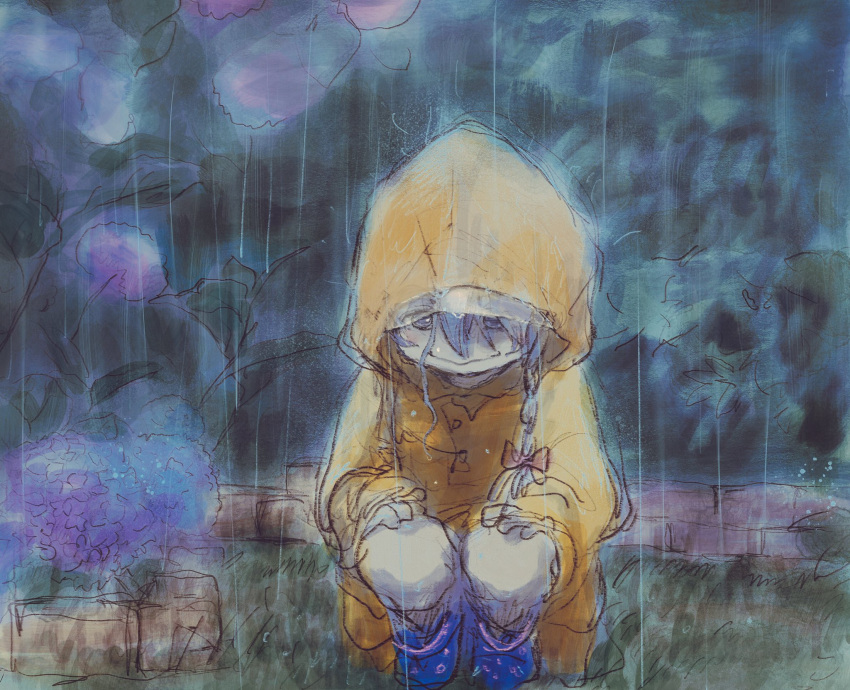 1girl ahoge bangs boots bow braid commentary dark flower grey_eyes grey_hair hair_bow highres hood hood_up hoshi_shouko idolmaster idolmaster_cinderella_girls light_smile looking_down nrp_(pesu) outdoors rain raincoat rubber_boots single_braid solo squatting wavy_mouth yellow_coat