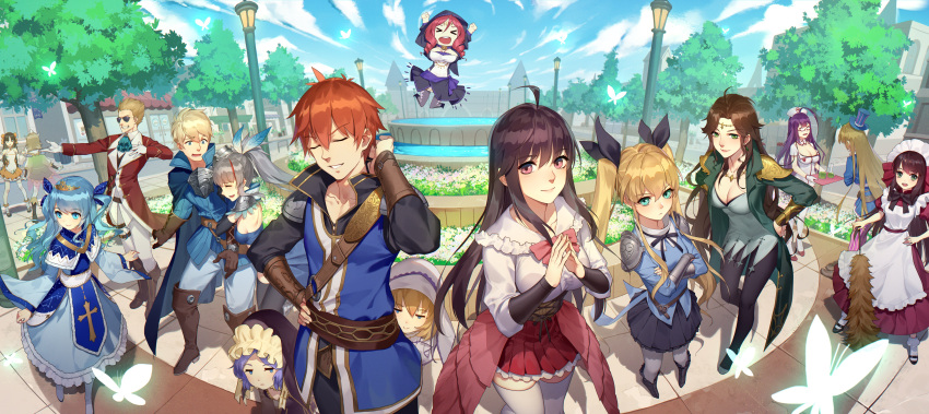 3boys 6+girls absurdres arm_hug black_hair blonde_hair blue_eyes blue_hair breasts brown_hair butterfly cleavage day daye_bie_qia_lian everyone fisheye fountain green_eyes hand_on_hip hat highres hood hood_up jumping large_breasts long_hair looking_at_another looking_at_viewer maid miniskirt multiple_boys multiple_girls nurse orange_hair outdoors pleated_skirt purple_hair romantic_saga_of_beauty_&_devil skirt smile smug standing sunglasses thigh-highs tiara top_hat twintails two_side_up very_long_hair violet_eyes white_legwear zettai_ryouiki