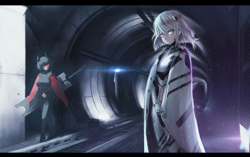 2girls absurdres black_hair bodysuit cape headgear highres legs_crossed looking_at_viewer multiple_girls navel navel_cutout original panamuru red_eyes short_hair sword tunnel underground watson_cross weapon white_eyes white_hair