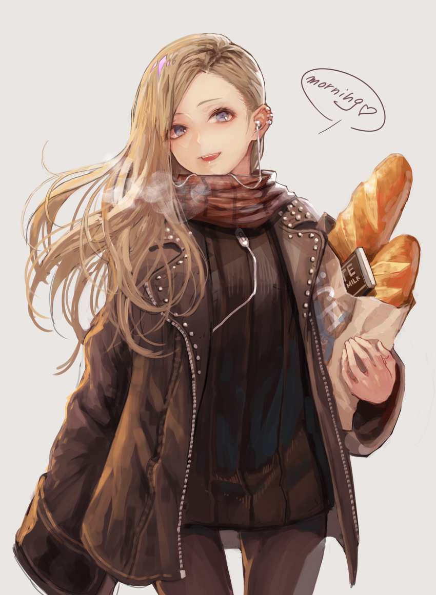 1girl :d bag baguette bangs black_dress black_jacket black_legwear blonde_hair blue_eyes bread breath brown_scarf chocolate commentary_request cowboy_shot dress earphones earphones english eyebrows_visible_through_hair food grey_background grocery_bag heart highres holding_bag jacket long_hair long_sleeves open_clothes open_jacket open_mouth original pantyhose plaid plaid_scarf scarf shopping_bag short_dress simple_background smile solo tamarashi upper_teeth wide_sleeves