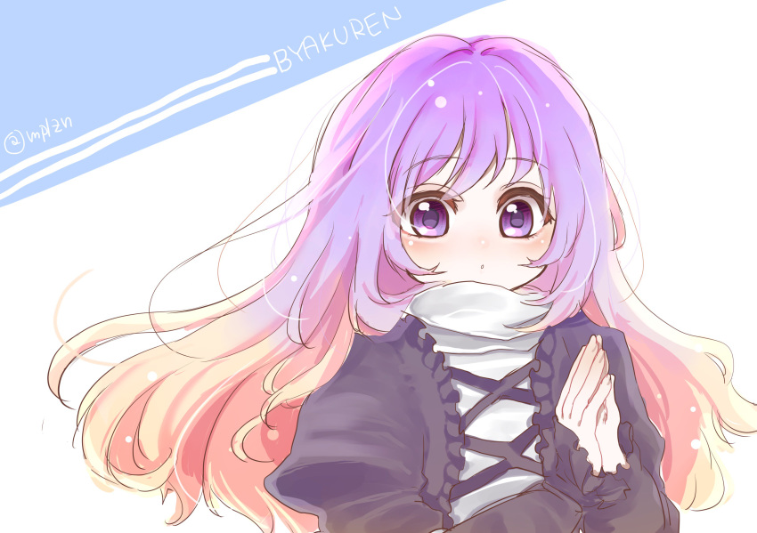 1girl absurdres blonde_hair character_name dress gradient_hair hands_together highres hijiri_byakuren juliet_sleeves long_hair long_sleeves looking_at_viewer mplzn multicolored_hair praying puffy_sleeves purple_hair signature simple_background solo text touhou twitter_username violet_eyes wavy_hair