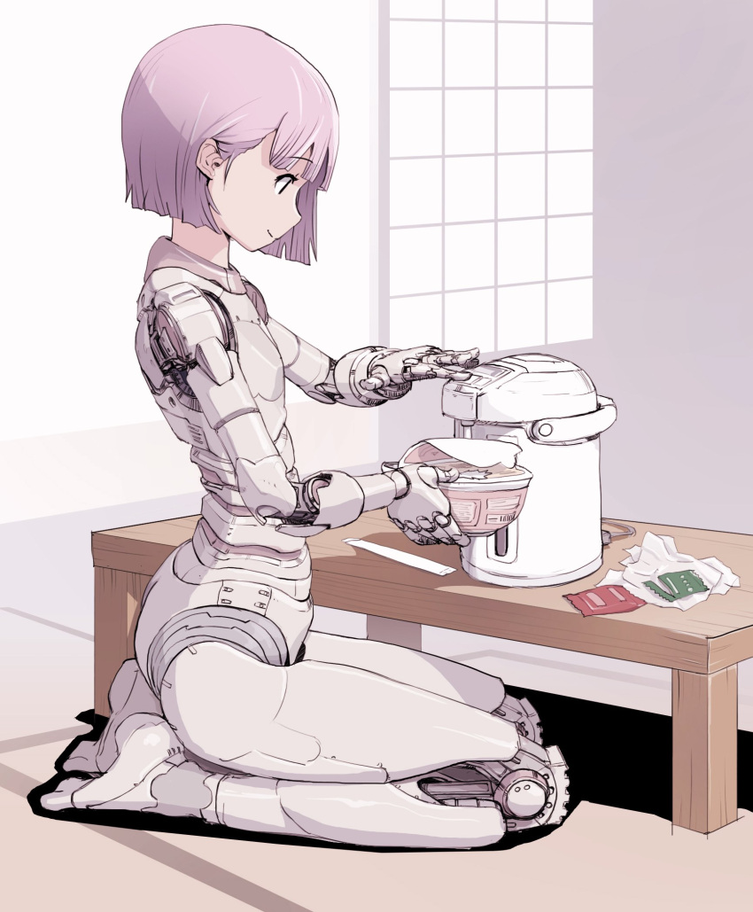 1girl food highres noodles original parts_exposed pink_hair purple_hair ramen robot_girl sitting sketch smile solo sukabu table violet_eyes wariza water