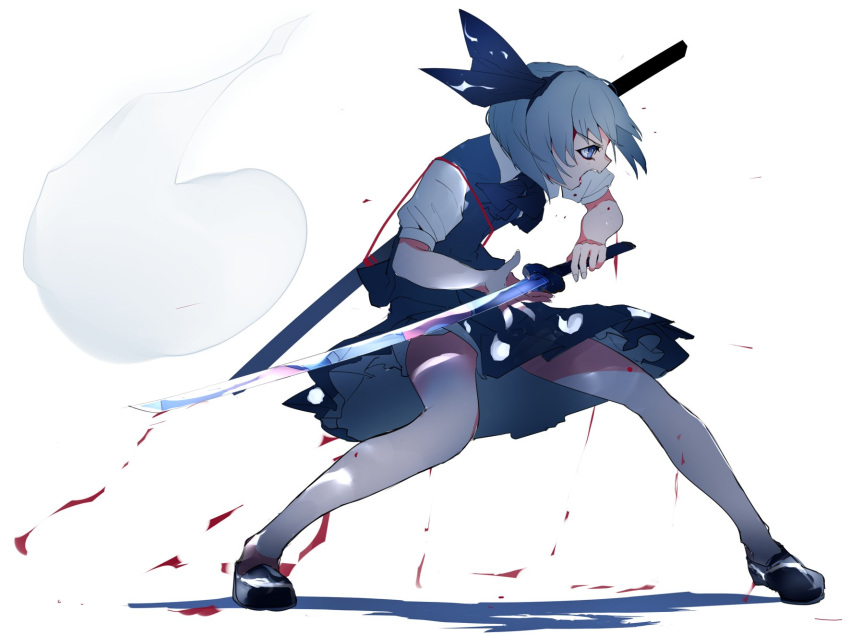1girl bent_knee black_footwear black_ribbon blood collared_shirt commentary_request fighting_stance from_side full_body green_skirt grey_hair hair_ribbon highres holding holding_weapon ikurauni katana konpaku_youmu konpaku_youmu_(ghost) open_mouth ribbon shadow sheath shirt shoes short_hair short_sleeves skirt skirt_set solo sword touhou weapon white_background white_shirt