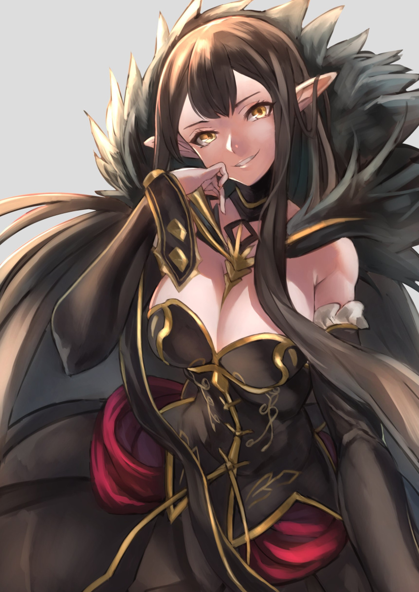 1girl absurdres black_dress black_hair breasts bridal_gauntlets cleavage dress elbow_gloves fate/grand_order fate_(series) fujitsubo_(hujitubo0731) fur_trim gloves head_tilt highres large_breasts long_hair looking_at_viewer pointy_ears semiramis_(fate) smile solo spike very_long_hair yellow_eyes