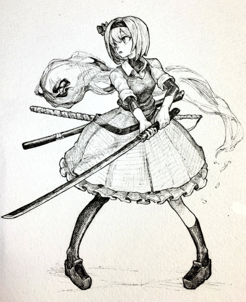 1girl asymmetrical_legwear collared_shirt fighting_stance frilled_skirt frills full_body hairband highres hitodama holding holding_sword holding_weapon katana kneehighs konpaku_youmu konpaku_youmu_(ghost) looking_to_the_side mashimashi medium_skirt monochrome open_mouth sheath shirt shoes short_hair skirt sleeves_rolled_up solo sword thigh-highs touhou traditional_media turtleneck undershirt vest weapon