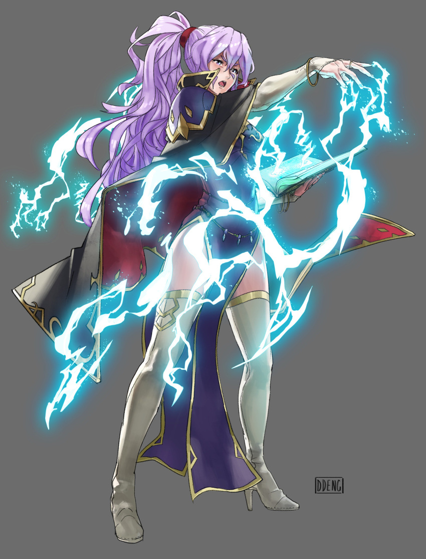 1girl absurdres bangle belly_chain black_cape book boots bracelet breasts bridal_gauntlets cape casting_spell choker cleavage collar daniel_deng dress earrings elbow_gloves electricity fire_emblem fire_emblem:_seisen_no_keifu fire_emblem:_thracia_776 fire_emblem_heroes gem gloves grey_background high_heel_boots high_heels highres holding holding_book ishtar_(fire_emblem) jewelry large_breasts lavender_hair lightning lips open_mouth parody ponytail purple_dress serious shoulder_pads side_ponytail side_slit sidelocks solo thigh-highs thigh_boots thighs violet_eyes white_footwear white_gloves