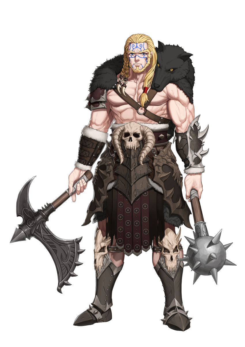 1boy abs absurdres armor armored_boots axe battle_axe beard blonde_hair blue_eyes boots bracer braid closed_mouth dual_wielding ear_piercing expressionless facial_hair facial_tattoo faulds fingernails full_body fur_trim greem_bang hair_ornament hair_over_shoulder highres holding holding_axe holding_weapon horns knee_boots long_hair looking_at_viewer mace male_focus muscle o-ring original pelt piercing shorts simple_background single_spaulder skull solo spaulders spiked_mace spikes standing tattoo warrior weapon white_background