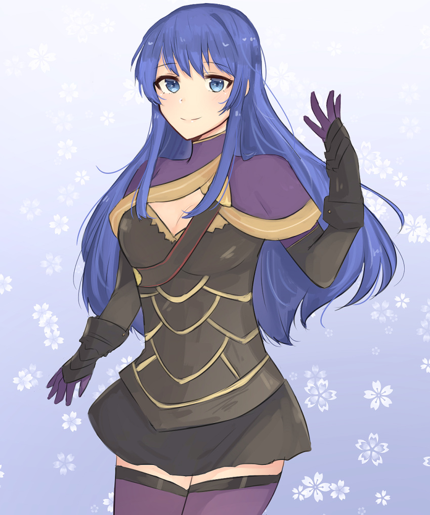 1girl adapted_costume armor azur_(pixiv_id_30192894) black_armor black_skirt blue_eyes blue_hair breasts caeda_(fire_emblem) camilla_(fire_emblem_if) camilla_(fire_emblem_if)_(cosplay) capelet cleavage cosplay cute fire_emblem fire_emblem:_monshou_no_nazo fire_emblem_fates fire_emblem_if fire_emblem_mystery_of_the_emblem gloves highres intelligent_systems long_hair moe nintendo parted_lips sheeda skirt smile solo thigh-highs zettai_ryouiki
