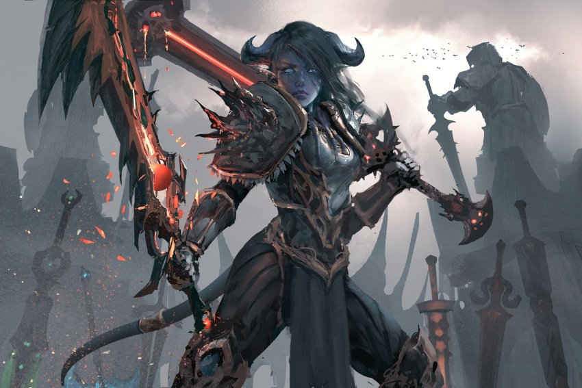 1girl armor artist_name bird blue_eyes blue_skin breasts clouds cloudy_sky draenei dual_wielding flock highres holding holding_sword holding_weapon horns light_particles loincloth long_hair medium_breasts outdoors pauldrons pose sky solo standing statue sword warcraft weapon wlop world_of_warcraft