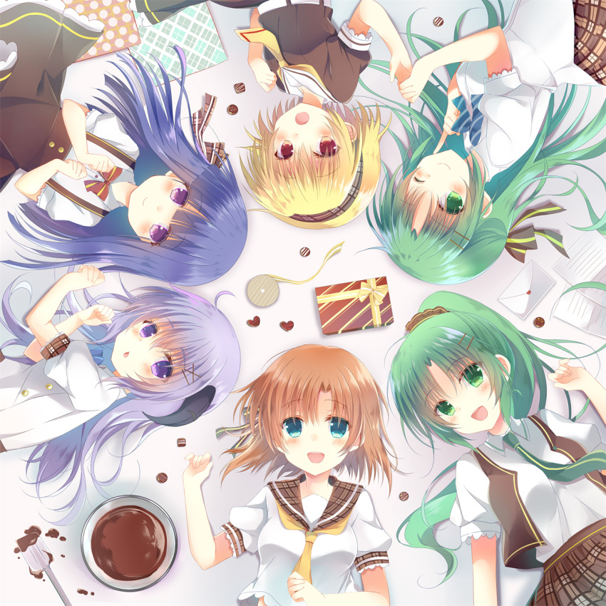 6+girls :d bangs black_bow blonde_hair blue_eyes blush bow box brown_bow brown_eyes brown_hair brown_scrunchie brown_shirt brown_skirt brown_vest character_request chestnut_mouth chocolate closed_mouth commentary_request eyebrows_visible_through_hair furude_rika gift gift_box green_eyes green_hair hair_between_eyes hair_bow hair_ornament hair_scrunchie hairclip hanyuu high_ponytail highres higurashi_no_naku_koro_ni horns houjou_satoko letter long_hair love_letter lying mixing_bowl multiple_girls necktie on_back on_side open_mouth parted_lips plaid plaid_bow plaid_skirt pleated_skirt ponytail puffy_short_sleeves puffy_sleeves purple_hair school_uniform scrunchie serafuku shiiba_nae shirt short_hair short_sleeves siblings sisters skirt smile sonozaki_mion sonozaki_shion striped striped_bow suspender_skirt suspenders twins very_long_hair vest violet_eyes white_shirt x_hair_ornament yellow_neckwear