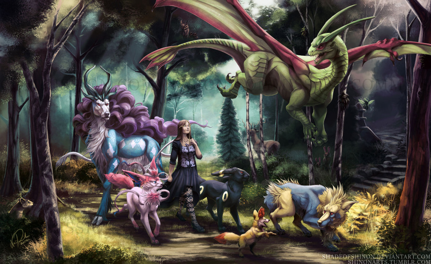 1girl 2017 bangs big_hair black_footwear black_shirt black_skirt blue_eyes brown_hair celebi clenched_hands closed_mouth commentary day draizor007 fennekin floral_print flygon flying forest hand_on_own_chest highres lips long_hair manectric moose mouse nature noctowl open_clothes open_shirt original outdoors pantyhose parted_bangs pine_tree pokemon pokemon_(creature) pokemon_(game) pokemon_gsc pokemon_trainer purple_hair rattata realistic red_eyes shadeofshinon sharp_teeth shirt shoes signature skirt smile stairs stantler stone_stairs suicune sylveon teeth tree tree_branch umbreon walking watermark web_address whistle