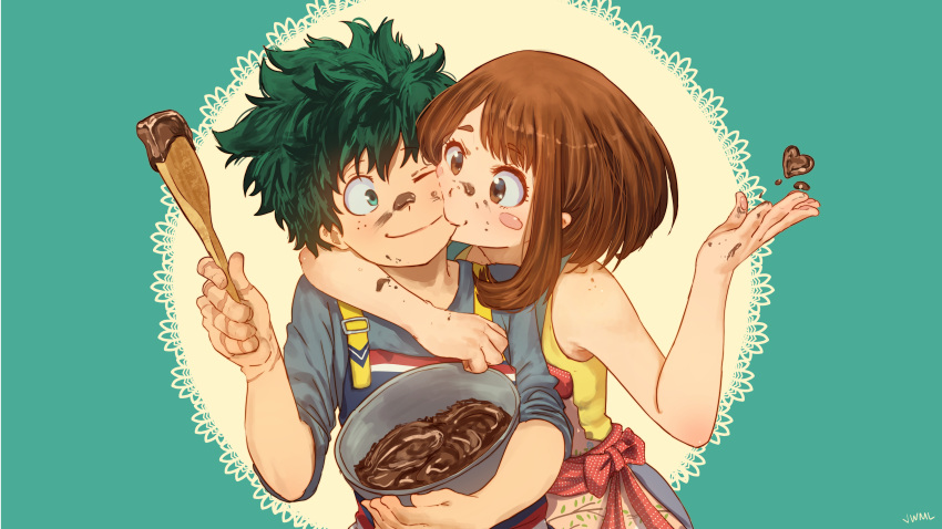 1boy 1girl absurdres apron blush_stickers boku_no_hero_academia bowl brown_eyes brown_hair chocolate chocolate_heart commentary_request couple eye_contact eyebrows_visible_through_hair food food_on_face freckles green_background green_eyes green_hair heart hetero highres holding hug justin_leyva_(steamy_tomato) looking_at_another midoriya_izuku one_eye_closed scar smile uraraka_ochako valentine