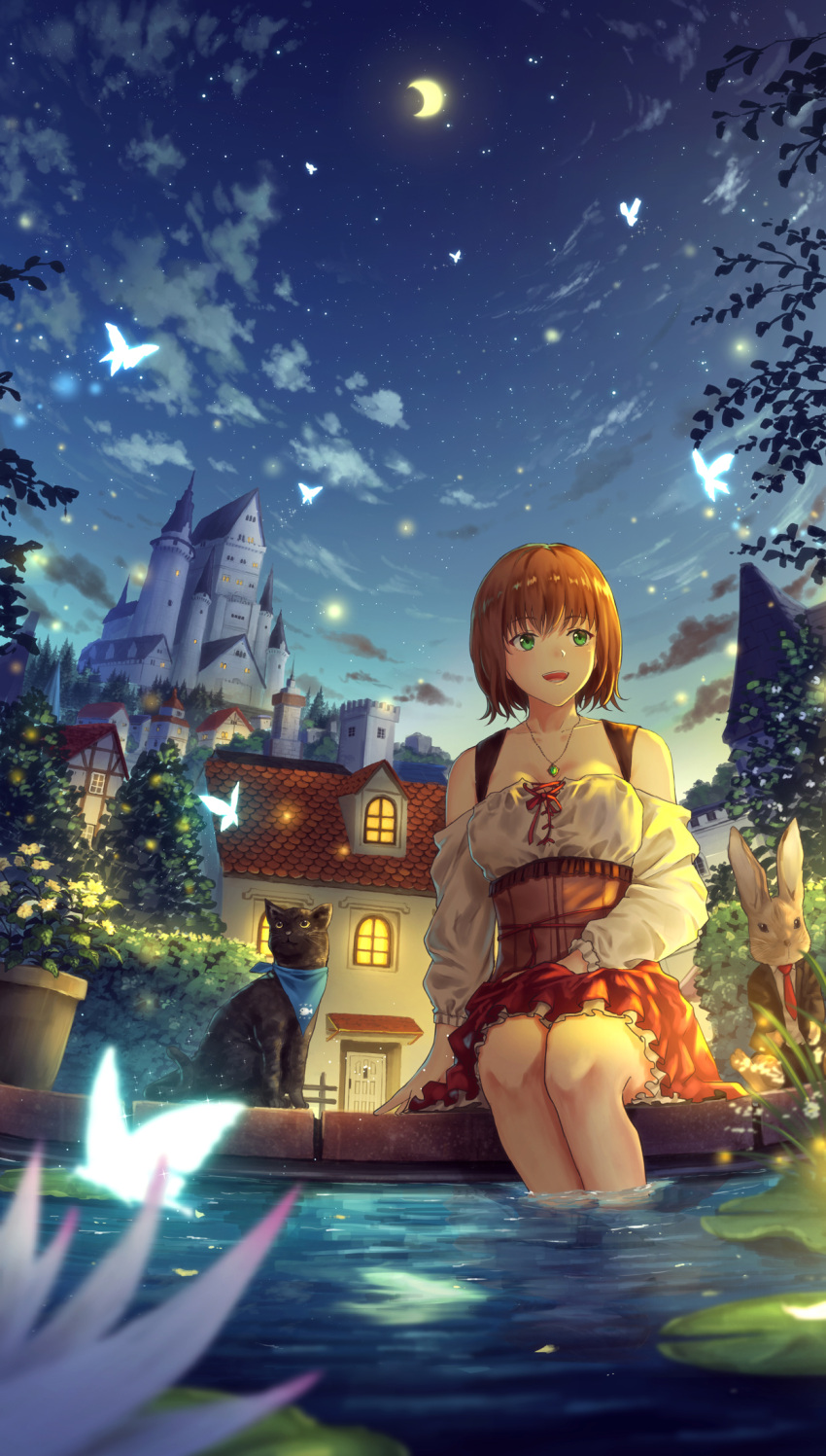 1girl bare_shoulders black_cat butterfly castle cat clouds commentary corset crescent_moon eyebrows_visible_through_hair fantasy fireflies flower formal green_eyes hand_in_lap hedge_(plant) highres house jacket jewelry lily_pad long_sleeves looking_to_the_side lotus moon neckerchief necklace necktie night night_sky open_clothes open_jacket open_mouth original outdoors pendant plant pond potted_plant rabbit red_neckwear redhead short_hair sitting sky soaking_feet solo star_(sky) starry_sky sugi87 suit traditional_clothes underskirt water