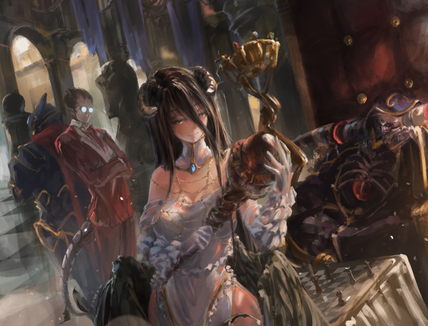 ainz_ooal_gown albedo bare_shoulders black_dress black_gloves black_hair black_wings breasts demiurge demon_girl demon_horns demon_wings dress formal glasses gloves hair_between_eyes highres horns large_breasts long_hair looking_at_viewer overlord_(maruyama) smile song_ren suit white_dress white_gloves wings yellow_eyes