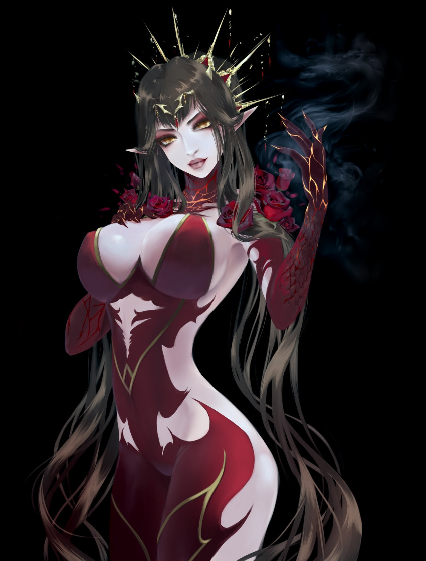 1girl alternate_costume bare_shoulders black_hair breasts burning_hand detached_sleeves dress fate/apocrypha fate/grand_order fate_(series) flower headdress highres large_breasts long_hair pointy_ears red_dress revealing_clothes rose saber_ruri scales semiramis_(fate) skin_tight smoke solo very_long_hair yellow_eyes