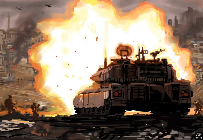 fighting_stance ground_vehicle hai_to_hickory highres military military_vehicle motor_vehicle original shockwave tank