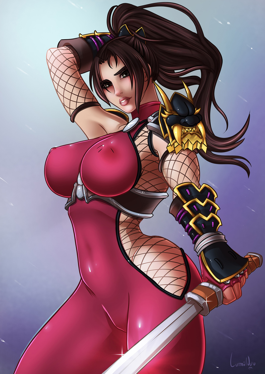 2018 bodysuit bracer breasts brown_hair downscaled headpiece highres large_breasts luminyu md5_mismatch ninja pauldrons pinup ponytail resized soul_calibur sword taki_(soulcalibur) weapon