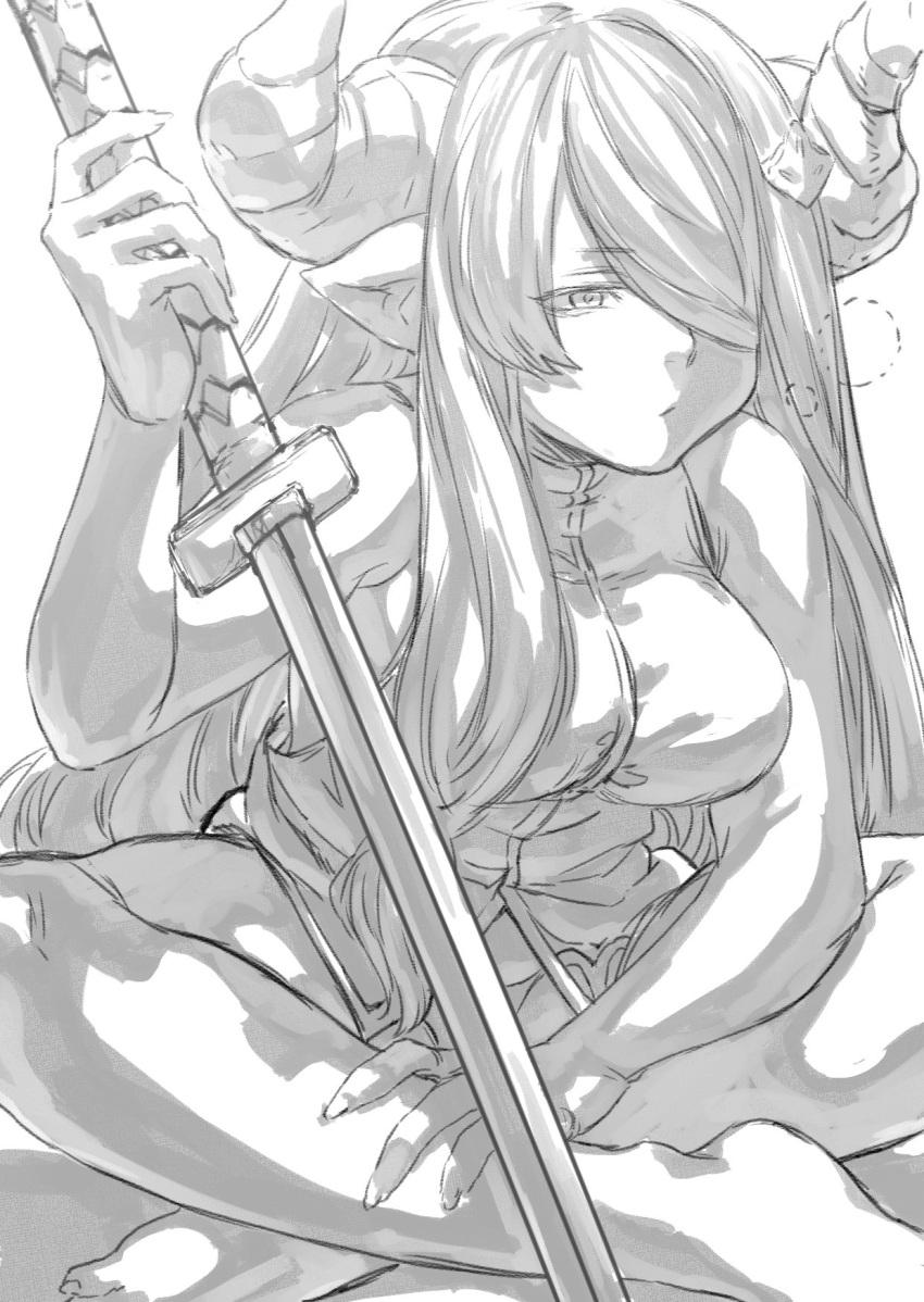 1girl barefoot breasts doraf granblue_fantasy greyscale hair_over_one_eye half-closed_eyes highres horns indian_style katana large_breasts legs long_hair monochrome narumeia_(granblue_fantasy) panties pointy_ears sitting sleepy solo sword toriudonda underwear very_long_hair vest weapon