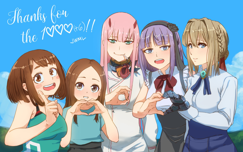 5girls :d absurdres bangs black_skirt blue_eyes blue_ribbon blue_shirt blue_skirt blue_sky blush boku_no_hero_academia bow bowtie braid breasts brown_hair candy closed_mouth clouds commentary crossover dagashi_kashi darling_in_the_franxx day english eyebrows_visible_through_hair flower followers food forehead gem green_eyes hair_flower hair_ornament hairband hands_up heart heart_hands heart_hands_duo high-waist_skirt highres horns index_finger_raised justin_leyva_(steamy_tomato) karakai_jouzu_no_takagi-san large_breasts lollipop long_hair looking_at_viewer mechanical_arm mouth_hold multiple_girls neck_ribbon open_mouth outdoors parted_bangs parted_lips pink_hair purple_hair red_bow ribbon ringed_eyes shidare_hotaru shirt short_hair skirt sky smile takagi-san thank_you uraraka_ochako violet_evergarden violet_evergarden_(character) zero_two_(darling_in_the_franxx)