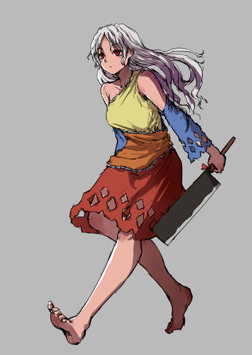 1girl :o arms_at_sides bare_legs bare_shoulders barefoot bow collarbone detached_sleeves dress eyebrows_visible_through_hair full_body grey_background hatchet highres holding kourou_(kouroukun) long_hair looking_afar medium_dress multicolored multicolored_clothes multicolored_dress parted_lips red_eyes sakata_nemuno silver_hair simple_background single_strap sketch solo touhou walking