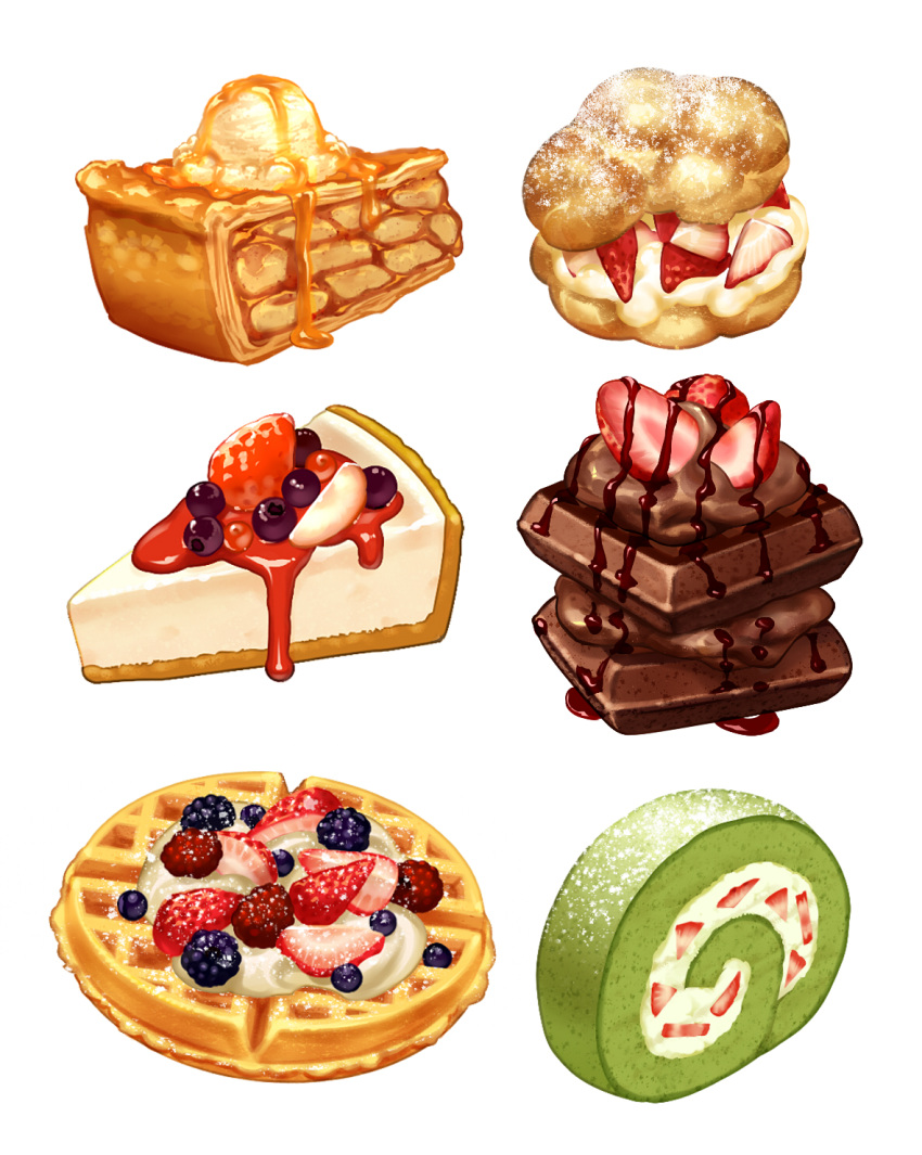 apple_pie blueberry cake cheesecake chocolate chocolate_syrup dessert food fruit highres honey ice_cream no_humans original pastry pie simple_background still_life strawberry strawberry_syrup swiss_roll tokie_(tokie-mizu) waffle whipped_cream white_background