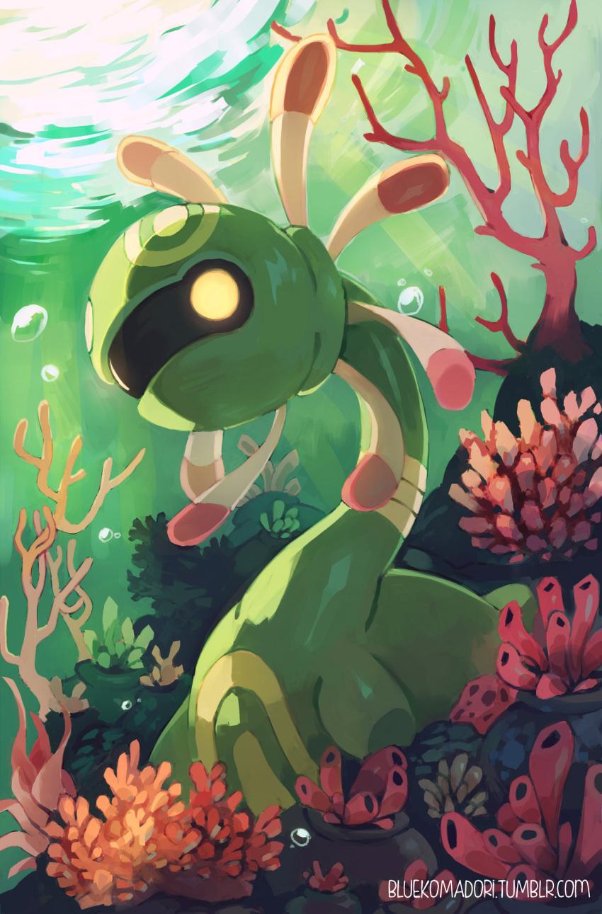absurdres bluekomadori bubble commission cradily full_body green_skin highres pokemon pokemon_(creature) pokemon_(game) pokemon_rse solo underwater watermark web_address yellow_eyes