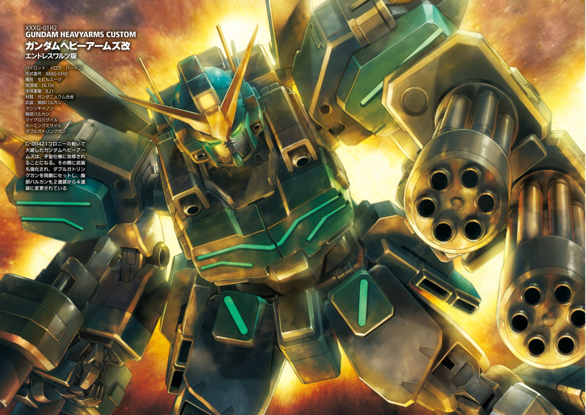 artist_request backlighting dual_wielding dutch_angle explosion gatling_gun glowing glowing_eyes green_eyes gun gundam gundam_heavyarms_custom gundam_wing gundam_wing_endless_waltz highres machinery mecha no_humans science_fiction text weapon