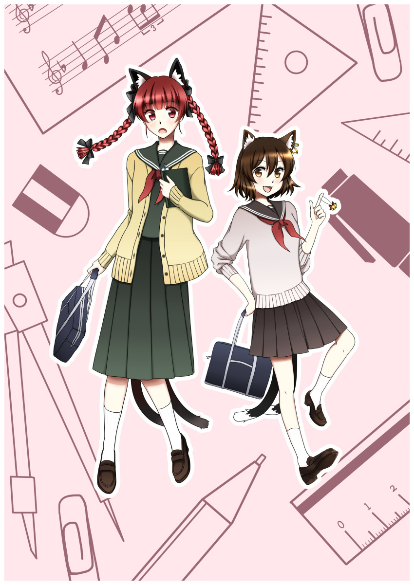 2girls absurdres alternate_costume amafumi animal_ears bag bell black_bow book bow braid brown_footwear brown_hair cardigan cat_ears cat_tail chen commentary_request compass_(instrument) crotchet earrings eraser fang full_body hair_bow highres holding holding_bag holding_book jewelry kaenbyou_rin long_sleeves looking_at_viewer mechanical_pencil multiple_girls multiple_tails musical_note open_mouth outline paperclip pencil pink_background pleated_skirt protractor quaver red_eyes redhead ruler sailor_collar school_uniform serafuku shoes short_hair skirt sleeves_rolled_up socks staff_(music) tail touhou treble_clef twin_braids two_tails white_legwear white_outline yellow_eyes