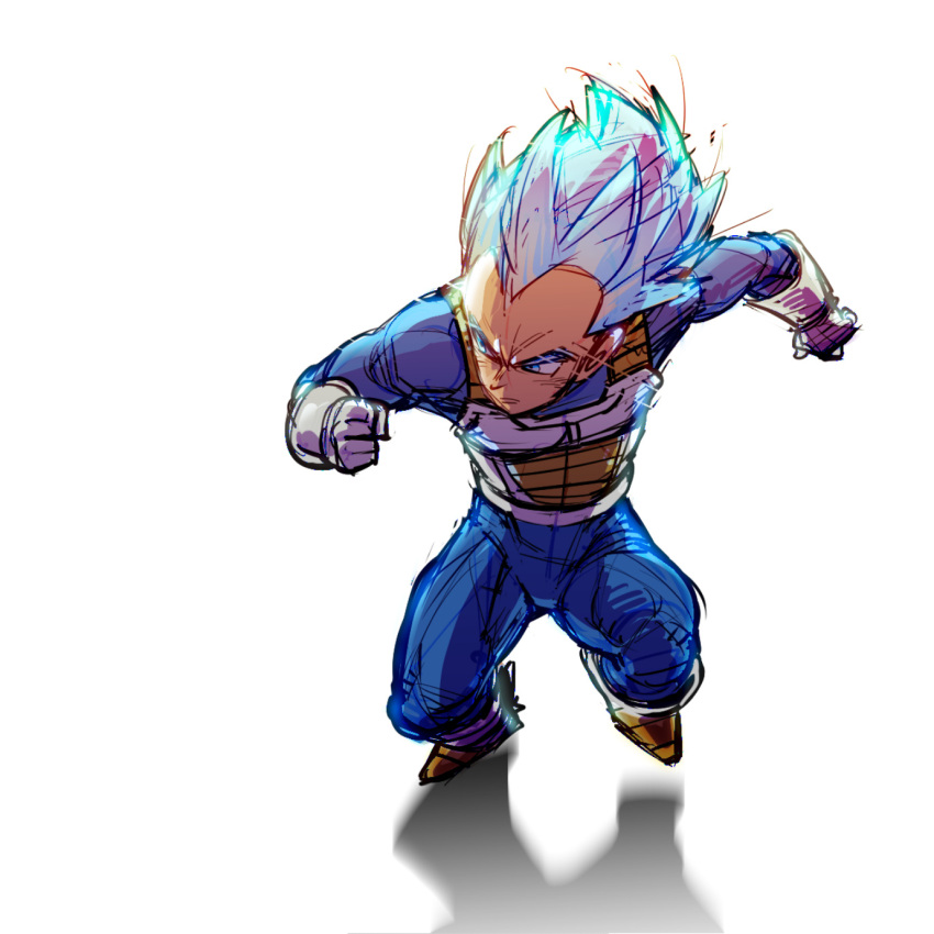 1boy armor blue_eyes blue_hair boots clenched_hand dragon_ball dragon_ball_super dragonball_z fighting_stance frown gloves highres looking_away male_focus outstretched_arms serious shaded_face shadow short_hair simple_background spiky_hair super_saiyan_blue supobi vegeta white_background