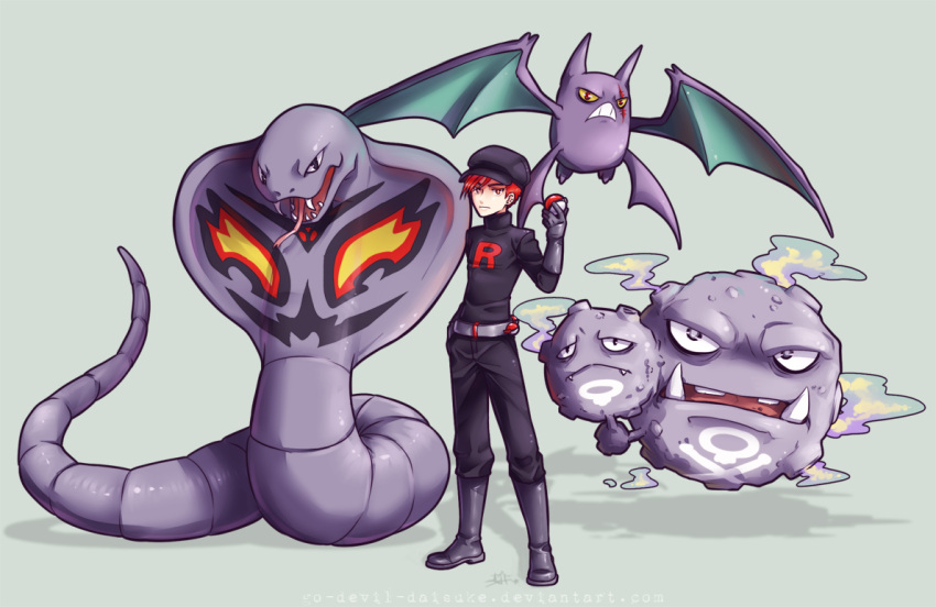 1boy arbok asymmetrical_hair belt black_pants black_shirt boots closed_mouth commentary creature crobat facial_mark fangs floating flying frown furrowed_eyebrows gloves green_background grey_belt grey_footwear grey_gloves holding holding_poke_ball legs_apart long_sleeves looking_at_viewer male_focus open_mouth pants poke_ball poke_ball_(generic) pokemon pokemon_(creature) pokemon_(game) pokemon_gsc pokemon_rgby pokemon_trainer purple_skin red_eyes redhead sharp_teeth shirt short_hair signature simple_background smoke standing team_rocket team_rocket_grunt teeth tongue tongue_out turtleneck watermark web_address weezing yellow_sclera zombiedaisuke