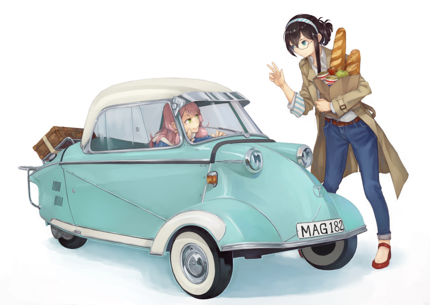 2girls akashi_(kantai_collection) bag black_hair blue_eyes bread car casual food glasses green_eyes ground_vehicle hair_ribbon hairband highres jinguuji_(jinguji443) kantai_collection long_hair motor_vehicle multiple_girls ooyodo_(kantai_collection) paper_bag pink_hair ribbon semi-rimless_eyewear tress_ribbon under-rim_eyewear