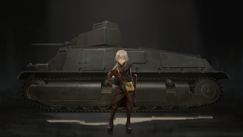 1girl absurdres blonde_hair blue_eyes furukawa_herzer ground_vehicle gun headwear_removed helmet helmet_removed highres military military_uniform military_vehicle motor_vehicle original pouch rifle solo tank uniform vehicle_request weapon