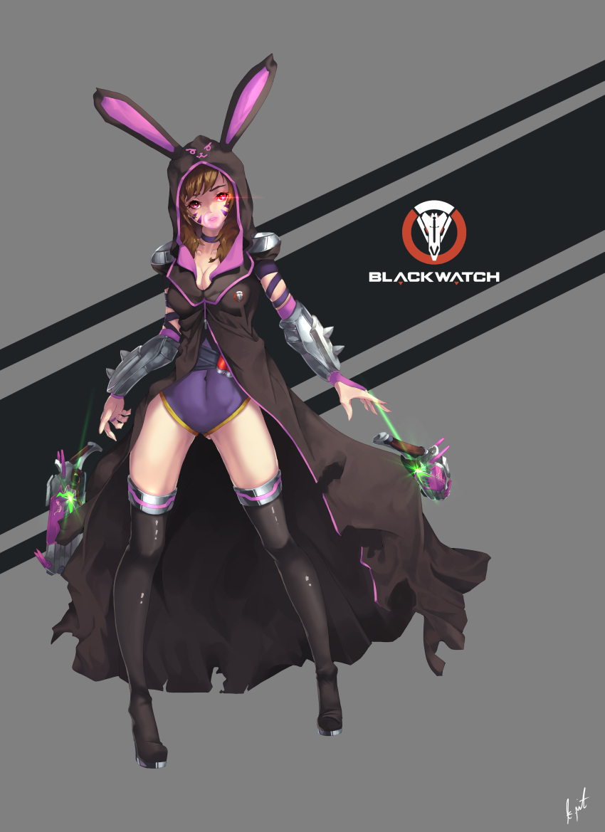 1girl absurdres animal_ears black_legwear bracer breasts brown_hair bubble_blowing chewing_gum cleavage collarbone d.va_(overwatch) facepaint facial_mark full_body fusion glowing glowing_eye grey_background gun highres hooded_coat leotard long_hair looking_at_another medium_breasts mute_(c20029) overwatch pauldrons purple_leotard rabbit_ears reaper_(overwatch) red_eyes signature simple_background solo standing thigh-highs torn_coat trench_coat weapon whisker_markings