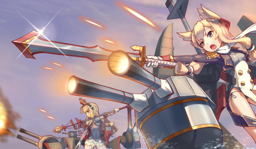 2girls azur_lane bare_shoulders black_dress black_panties blonde_hair breasts brown_eyes closed_mouth clouds commentary_request covered_navel crown curly_hair day detached_sleeves dress epaulettes eyebrows_visible_through_hair firing from_side gloves hair_between_eyes hairband highres holding holding_staff holding_sword holding_weapon long_hair machinery mini_crown multiple_girls outdoors outstretched_arm panties queen_elizabeth_(azur_lane) revision shippuki short_hair_with_long_locks side-tie_panties sidelocks sky small_breasts staff standing sword underwear v-shaped_eyebrows very_long_hair warspite_(azur_lane) weapon white_gloves