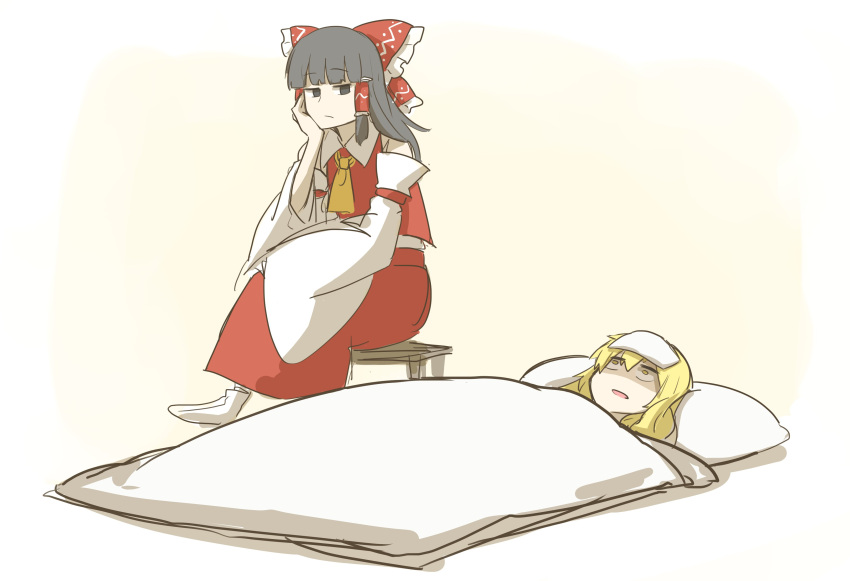 2girls :/ absurdres ascot bangs black_hair blonde_hair blunt_bangs bored commentary d: detached_sleeves frown hakurei_reimu head_rest highres hime_cut kan_(aaaaari35) kirisame_marisa multiple_girls open_mouth shaded_face sick sitting skirt socks stool touhou under_covers yellow_eyes yellow_neckwear