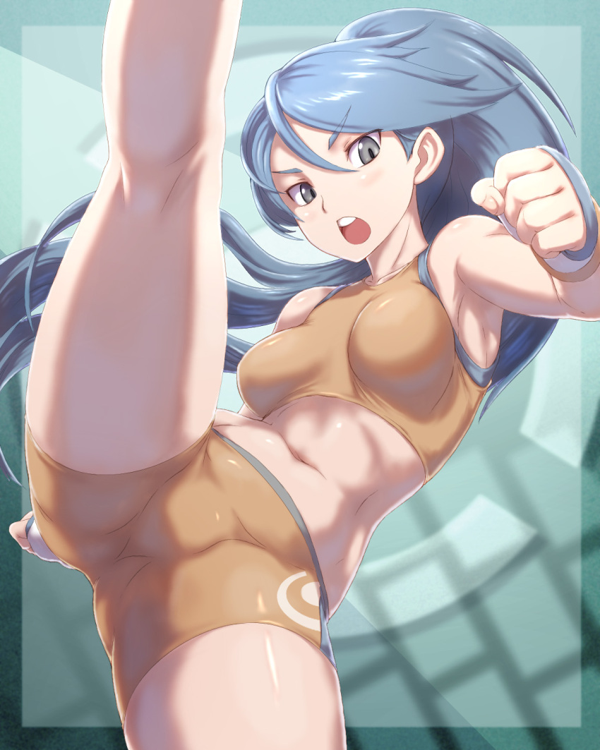 >:o 1girl bangs bare_arms battle_girl_(pokemon) bike_shorts blue_eyes blue_hair blush breasts clenched_hand fighting_stance fingerless_gloves gloves highres kous_(onetwojustice) leg_lift leg_up long_hair looking_at_viewer medium_breasts midriff navel npc open_mouth pokemon pokemon_(game) pokemon_oras ponytail solo sports_bra stomach swept_bangs very_long_hair